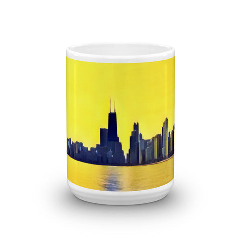 CHICAGO SKYLINE w/JOHN HANCOCK - View from North Beach (YellowSky) - Heavy 15oz Mug made in the USA