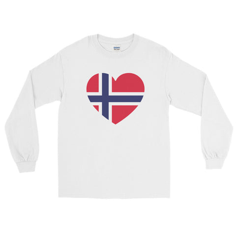 NORWEGIAN FLAG HEART (NORWAY) - Men's/Unisex long sleeve t-shirt
