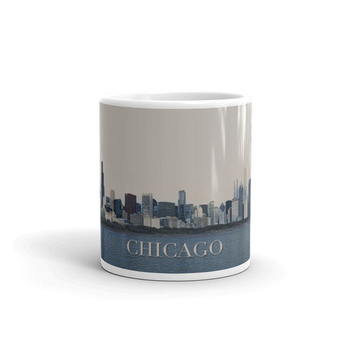 CHICAGO SKYLINE FROM LAKE MICHIGAN (Tan Sky) - Mug