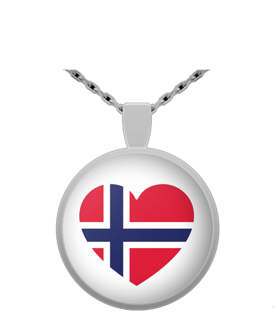 NORWAY FLAG HEART Round Pendant Necklace