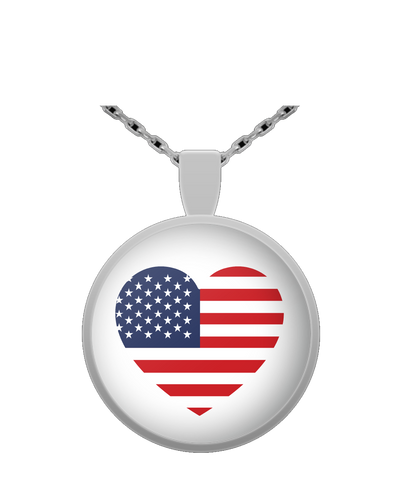 USA FLAG HEART Round Pendant Necklace