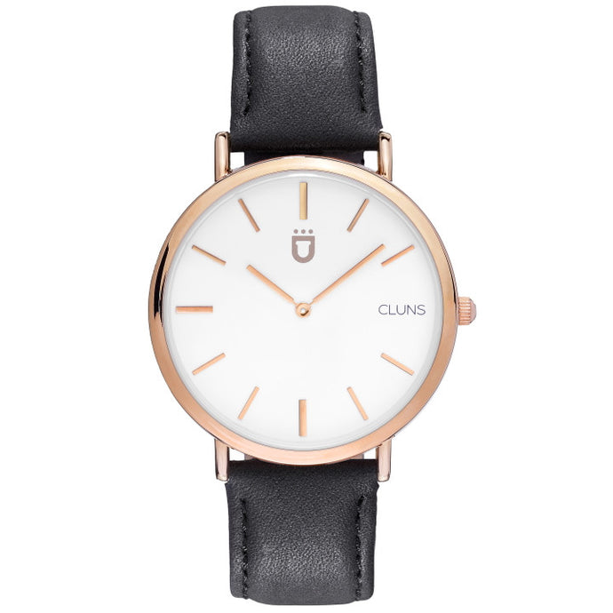 Argon Watch Cluns Minimalist Gold Black Leather