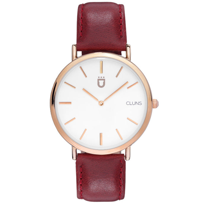 Boron Watch Cluns minimalist gold red leather