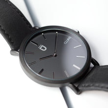 Carbon Cluns Watch Minimalist Black Leather