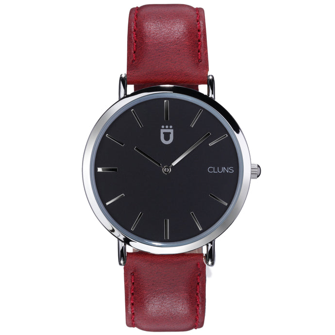 Lead minimalist watch red leather cluns