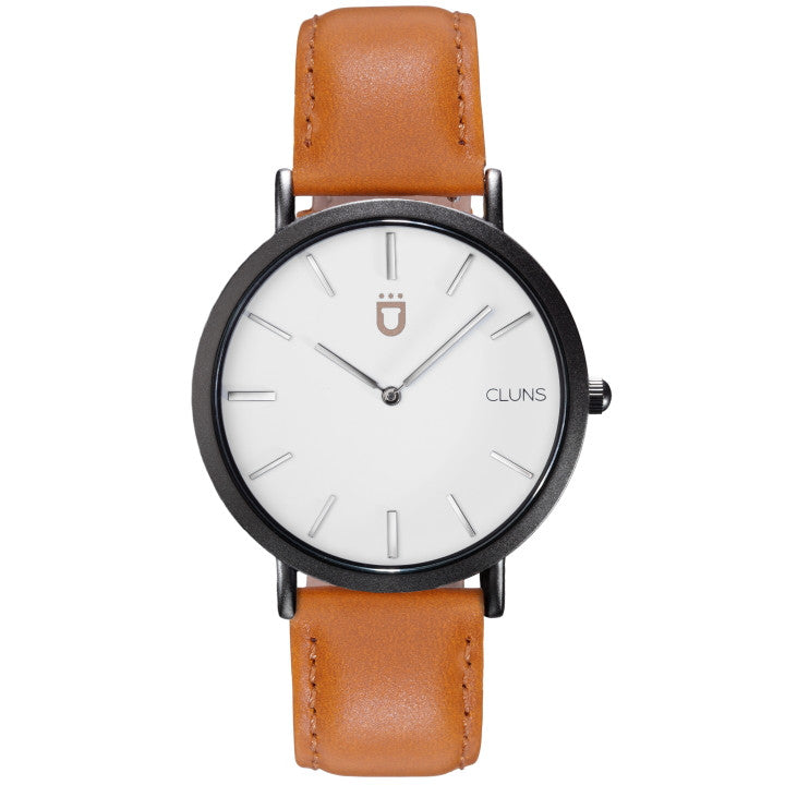 Nitro Cluns Watch Brown Leather Minimalist