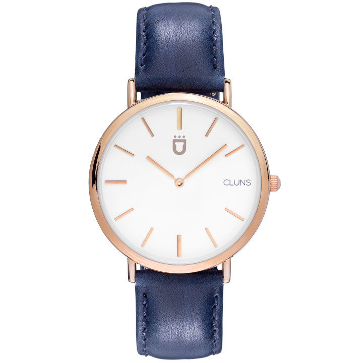 Oxygen Watch minimalist cluns blue leather