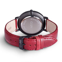 Neon Cluns Watch Red Leather Minimalist