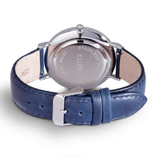 Tin minimalist watch cluns blue leather
