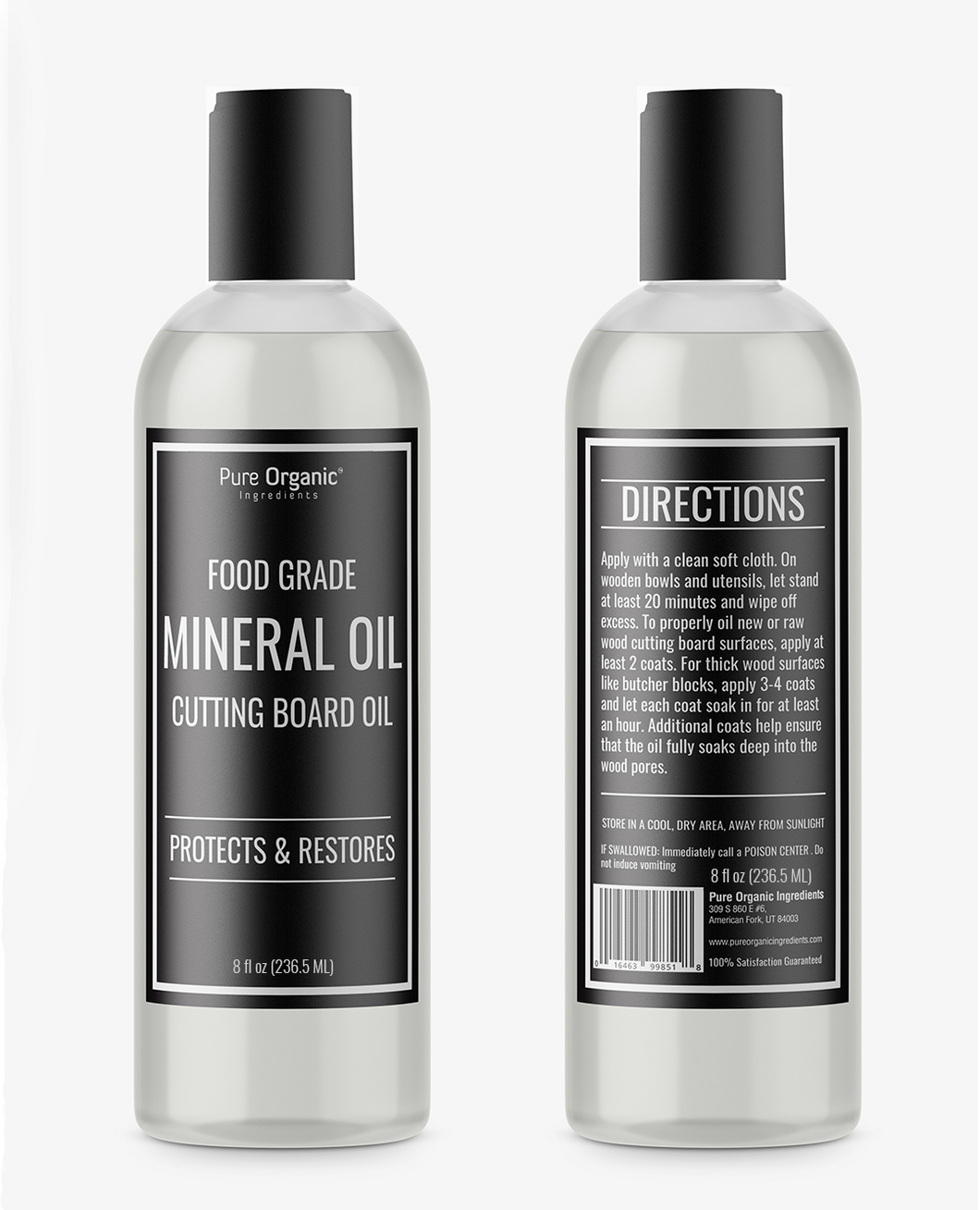 Pure Organic Ingredients Mineral Oil, Food Grade, For Cutting Boards,  Butcher Blocks,