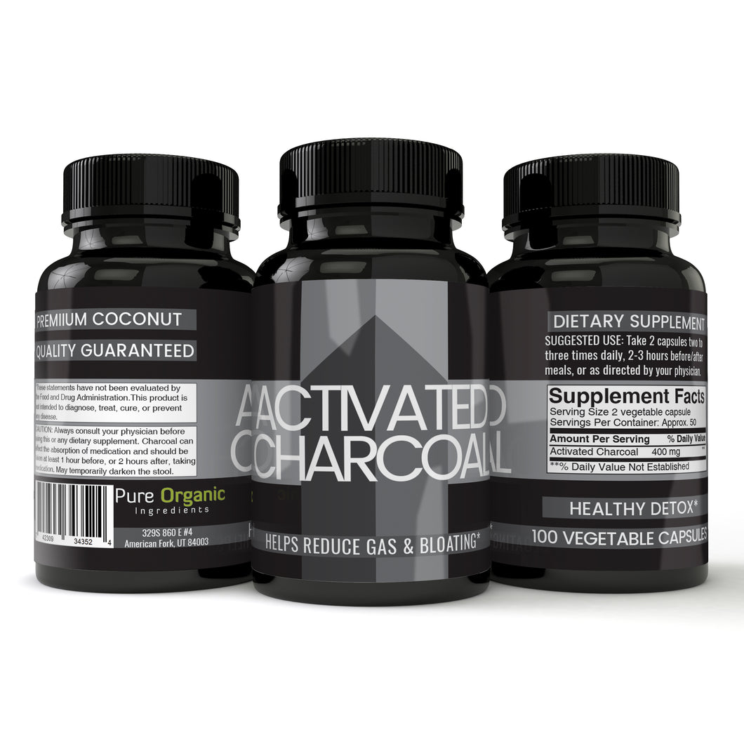 Activated Charcoal Capsules, 400 mg per serving, Reduces Gas & Bloating, Healthy Natural Detoxification, Veggie Caps, Money Back Guarantee