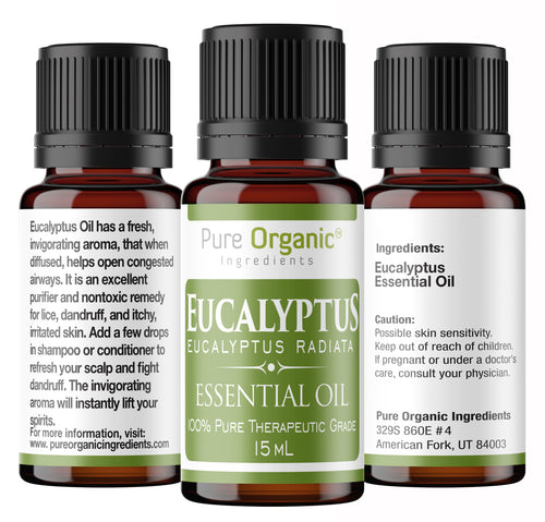 Eucalyptus Pure Essential Oil 15 ml by Pure Organic Ingredients, Is used to cleanse surfaces and the air, It can help promote feelings of relaxation and clear breathing.