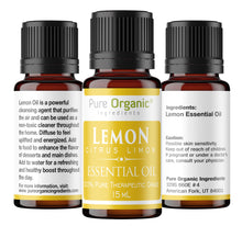 Lemon Pure Essential Oil 15 ml by Pure Organic Ingredients, Uplifting & Energizing Citrus Aroma, Powerful Cleansing Agent, Natural Detox