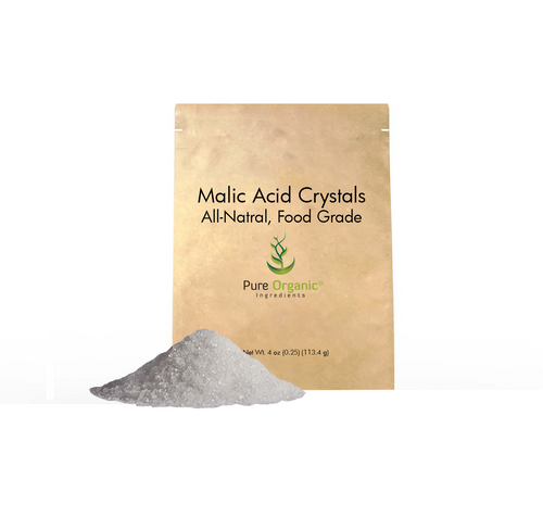 DL Malic Acid Crystals, Pure Organic Ingredients, White Crystals, Eco-Friendly Packaging