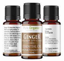 Ginger Pure Essential Oil 15 ml by Pure Organic Ingredients, Helps Reduce Nausea, Aids in Digestion, Hot, Spicy Aroma, Food Safe