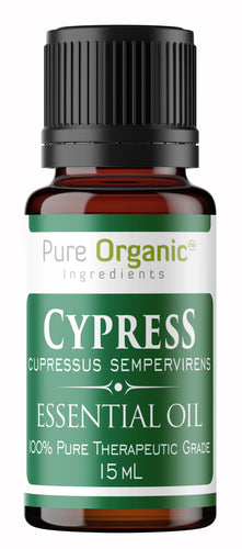 Cypress Pure Essential Oil 15 ml by Pure Organic Ingredients, Refreshing & Energizing Aroma, Contains Beneficial Monoterpenes, Promotes Healthy Skin
