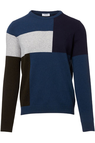 Colorblock Grid Sweater