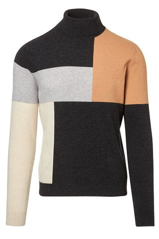 Colorblock Grid Turtleneck