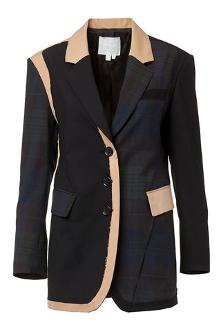BASE MARK, Patchwork Combo Blazer