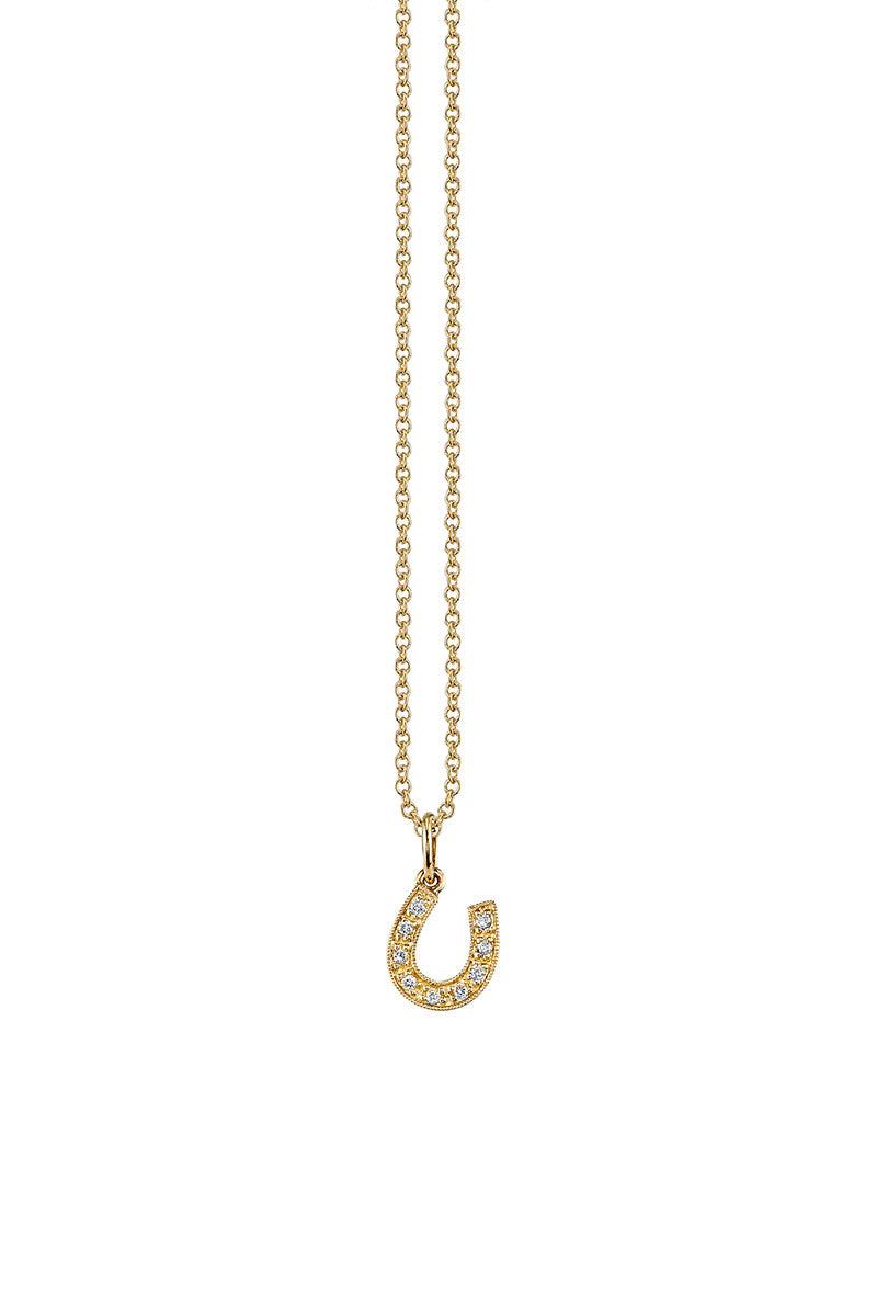 Sydney Evan, Pavé Horseshoe Charm Necklace