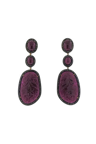 Carved Ruby Diamond Drop Earrings