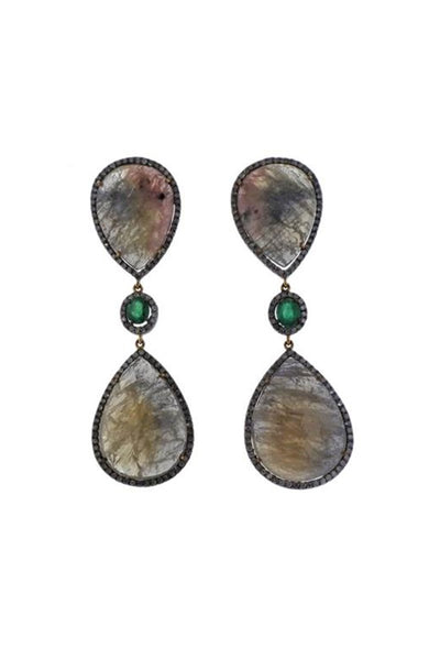 , Sapphire Emerald Earrings