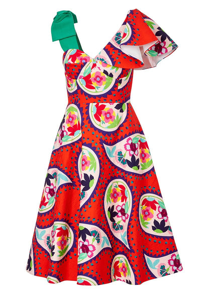 Delpozo, Floral Paisley Bow Dress