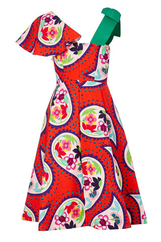 , Floral Paisley Bow Dress