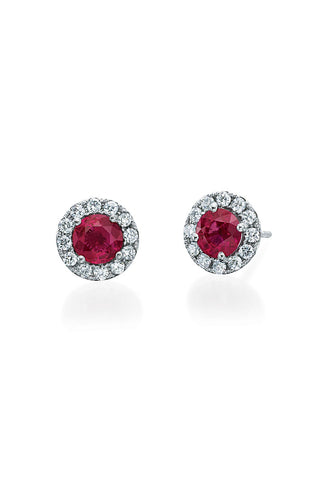 Boyds Essentials, 18kt White Gold Ruby & Diamond Earrings