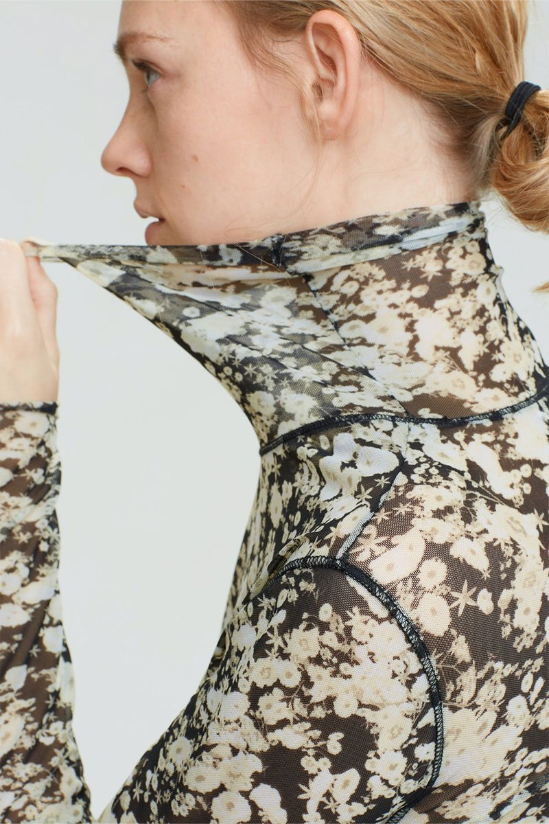 Sheer Blooming Turtleneck