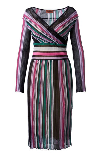 , Pleated Stripe Dress