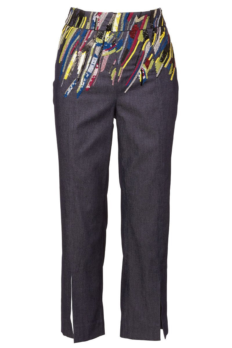 Sequin Embroidered Denim Trousers