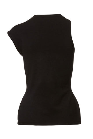 CUSHNIE, One-Shoulder Cap-Sleeve Top