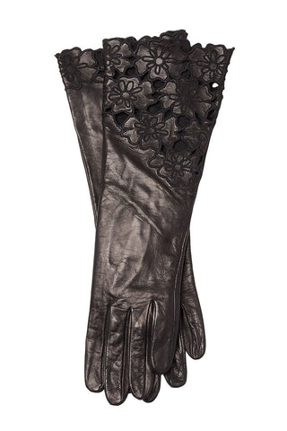 Floral Eyelet Leather Gloves