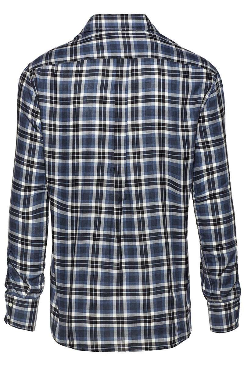 French Collar Macro-Check Shirt
