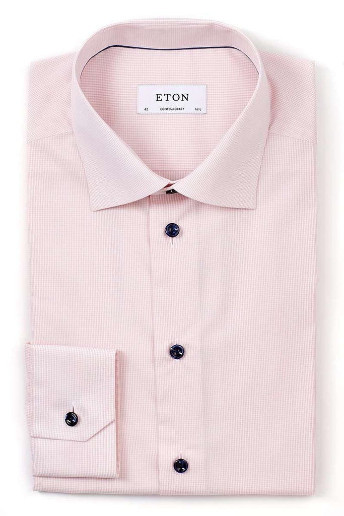 Pink Micro-Check Dress Shirt