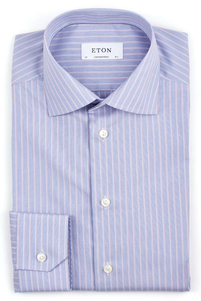 Blue & Pink Striped Dress Shirt