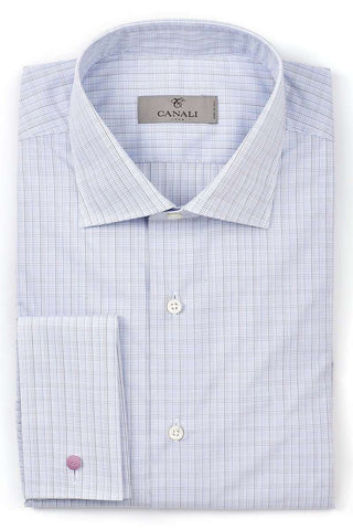 Blue Micro-Check Dress Shirt