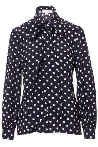 Michael Kors Collection, Polka Dot Bow Blouse