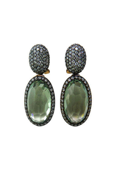 , Modern Quartz Diamond Drop Earrings