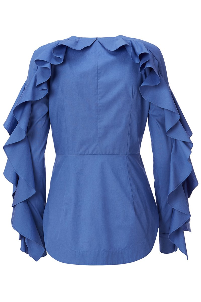 , Cape Shoulder Ruffled Blouse
