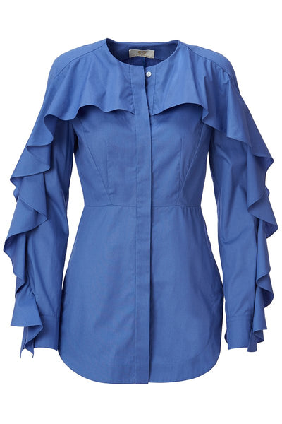 Sara Battaglia, Cape Shoulder Ruffled Blouse