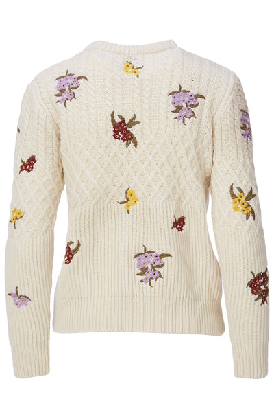 Floral Embroidered Wool Sweater