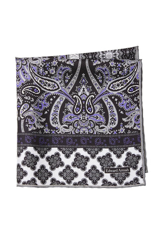 Bordered Paisley Pocket Square