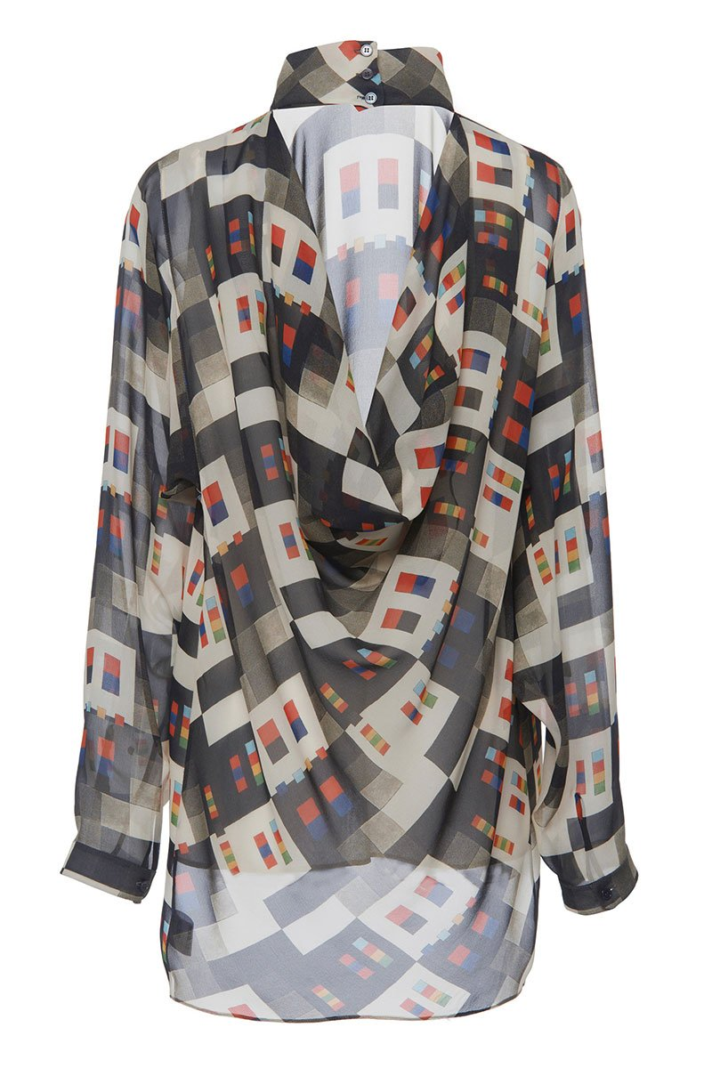 Printed Draped Blouse