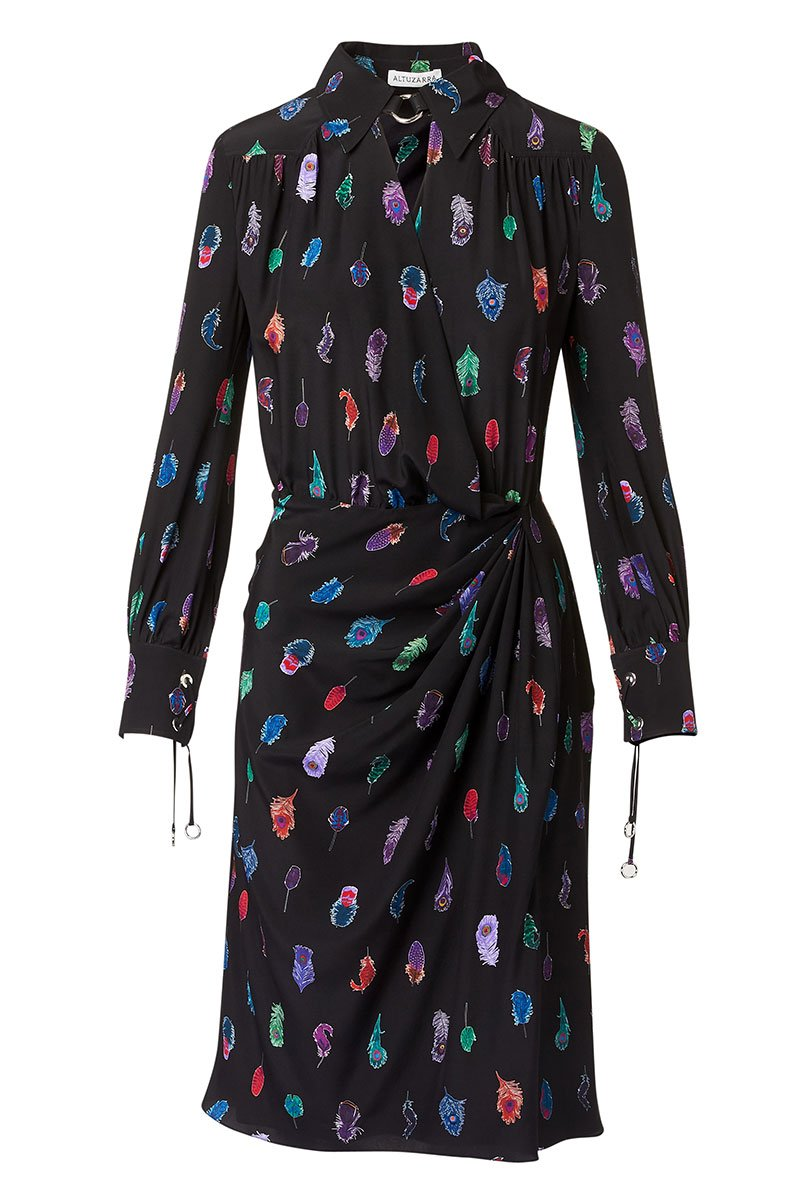 , Kat Feather Drape Shirtdress