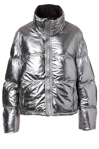 Reversible Metallic Puffer Coat