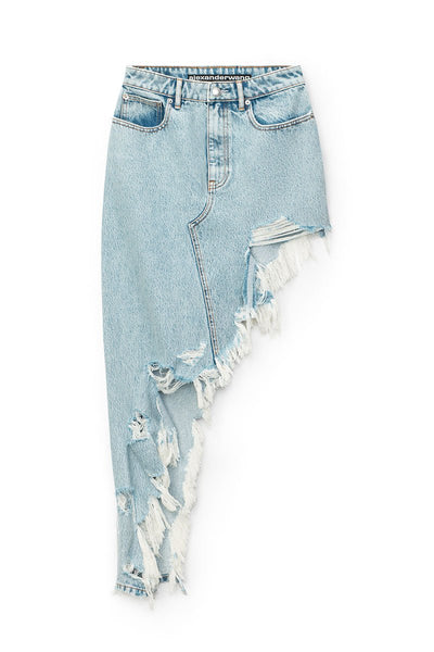 Asymmetric Frayed Skirt
