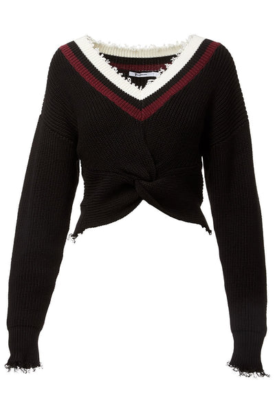 Twist Front Varsity Sweater