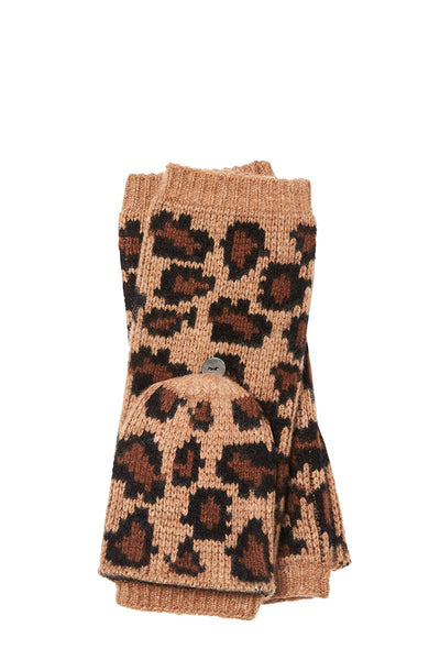 Portolano, Leopard Fingerless Gloves
